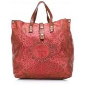 Campomaggi Lavata Gothic Handbag Red Metallic Leather