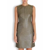 Stills Atelier Olive Glittered Lame Shift Dress - LAST ONE